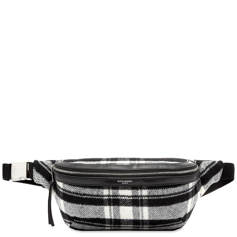 イヴ サンローラン Saint Laurent メンズ ボディバッグ・ウエストポーチ バッグ【Flannel Check Waist Bag】Black/White