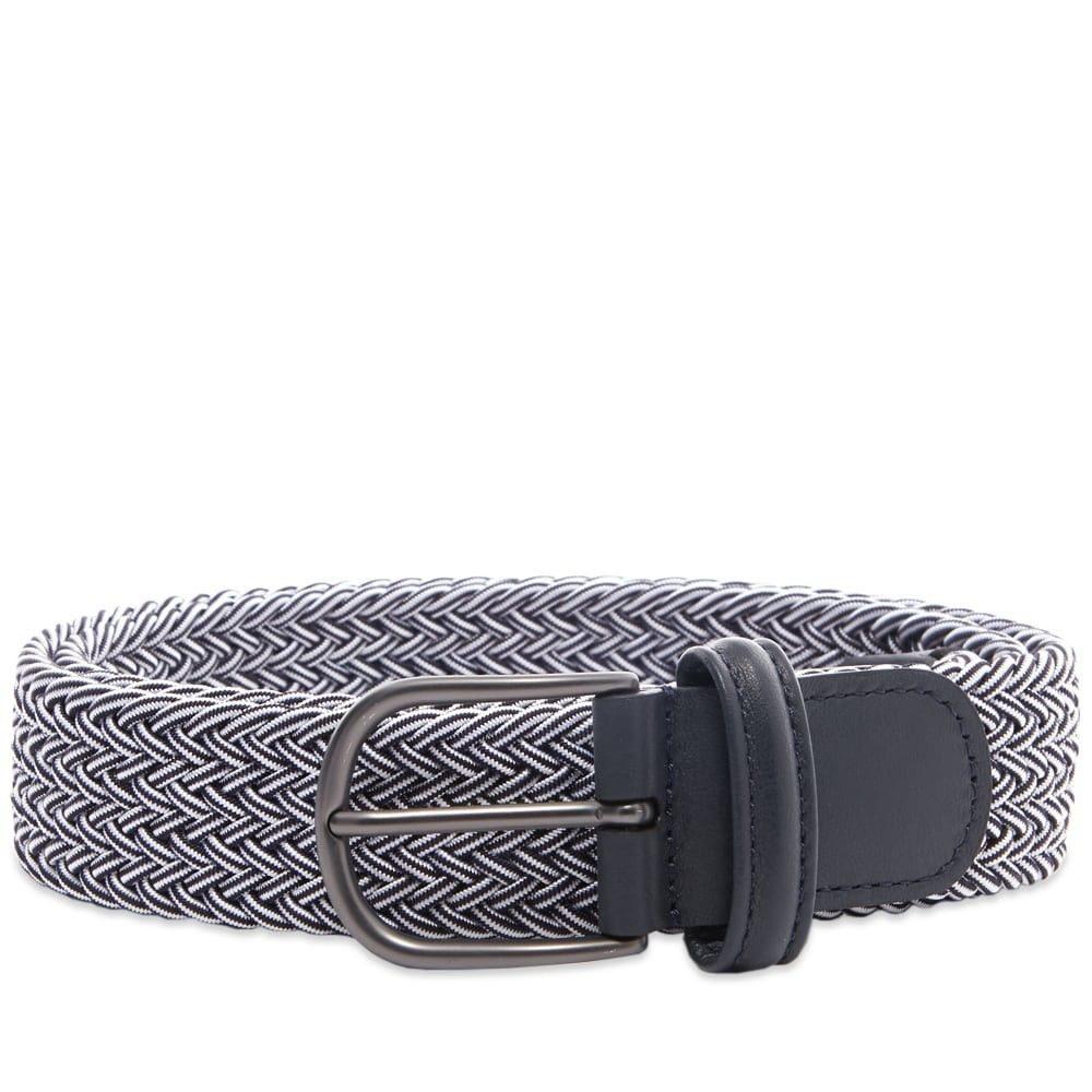 アンダーソンズ Andersons メンズ ベルト 【Anderson's Woven Textile Belt】Navy/White