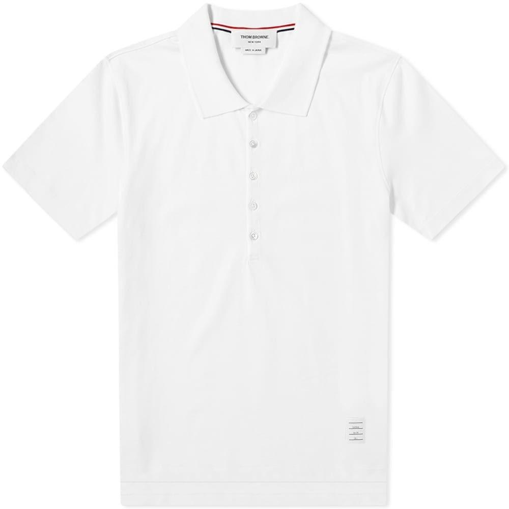 トム ブラウン Thom Browne メンズ ポロシャツ トップス【Relaxed Fit Polo】White