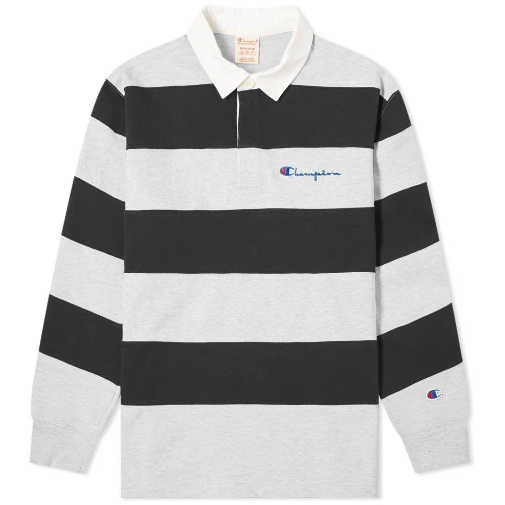 チャンピオン Champion Reverse Weave メンズ ポロシャツ トップス【Striped Rugby Shirt】Grey Marl/Black