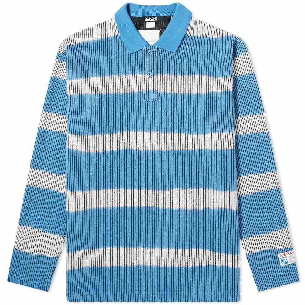 マーティン ローズ Napa by Martine Rose メンズ ポロシャツ トップス【Stripe Knitted Rugby Sweat】Black/Grey