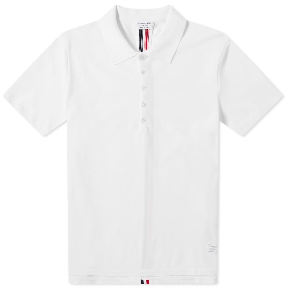 トム ブラウン Thom Browne メンズ ポロシャツ トップス【Back Stripe Relaxed Fit Polo】White