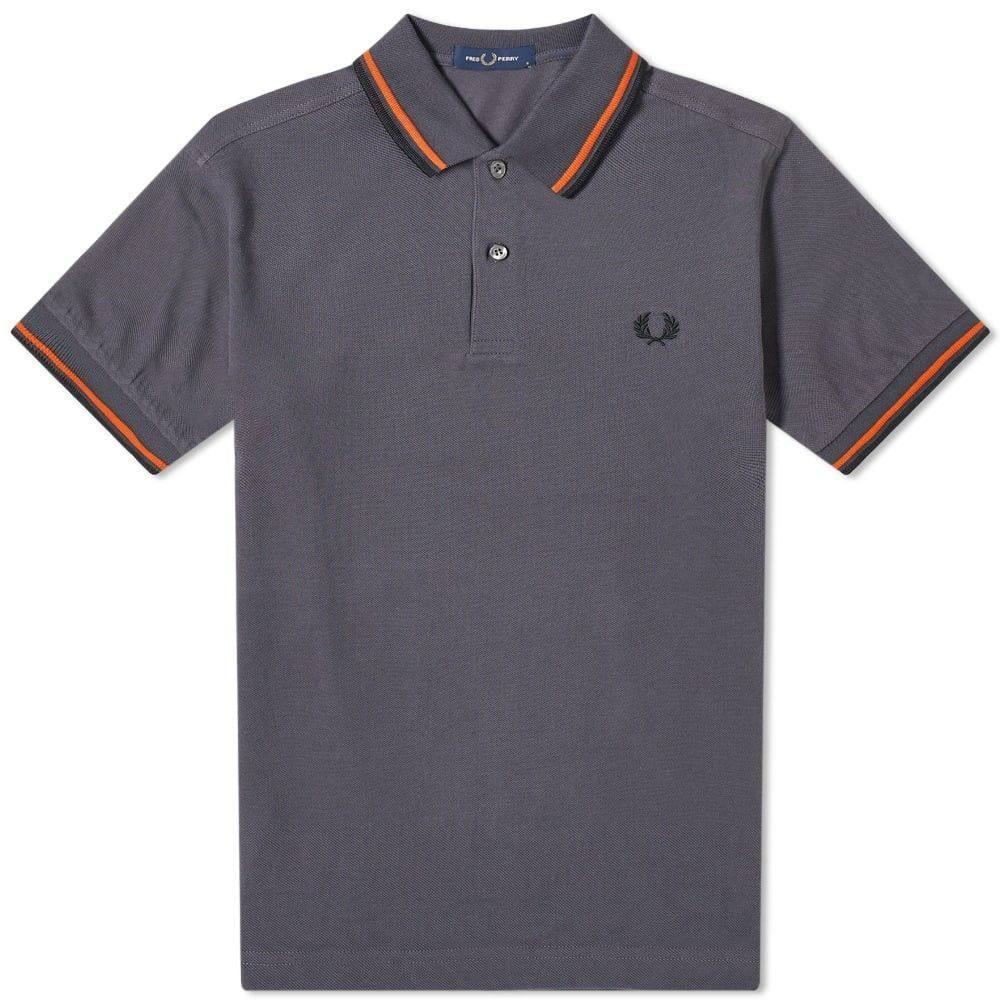 フレッドペリー Fred Perry Authentic メンズ ポロシャツ トップス【Fred Perry Slim Fit Twin Tipped Polo】Charcoal/Orange/Black