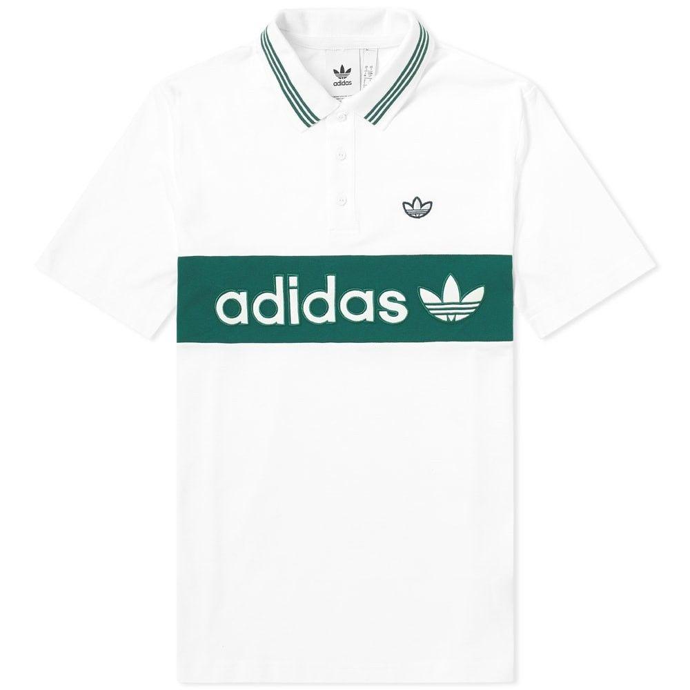 アディダス Adidas メンズ ポロシャツ トップス【Samstag Stripe Polo】White/Collegiate Green