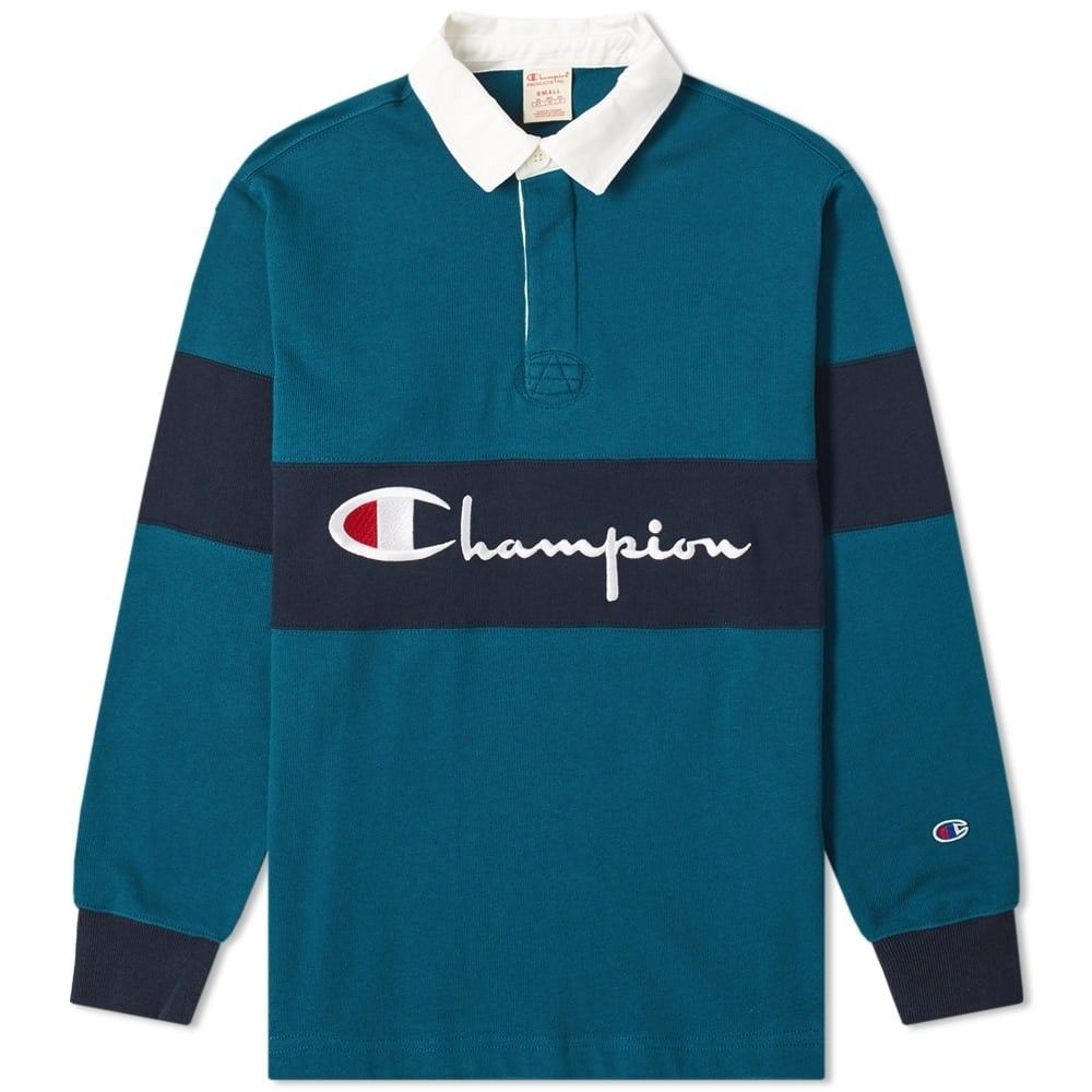 チャンピオン Champion Reverse Weave メンズ ポロシャツ トップス【Big Script Rugby Shirt】Teal/Navy