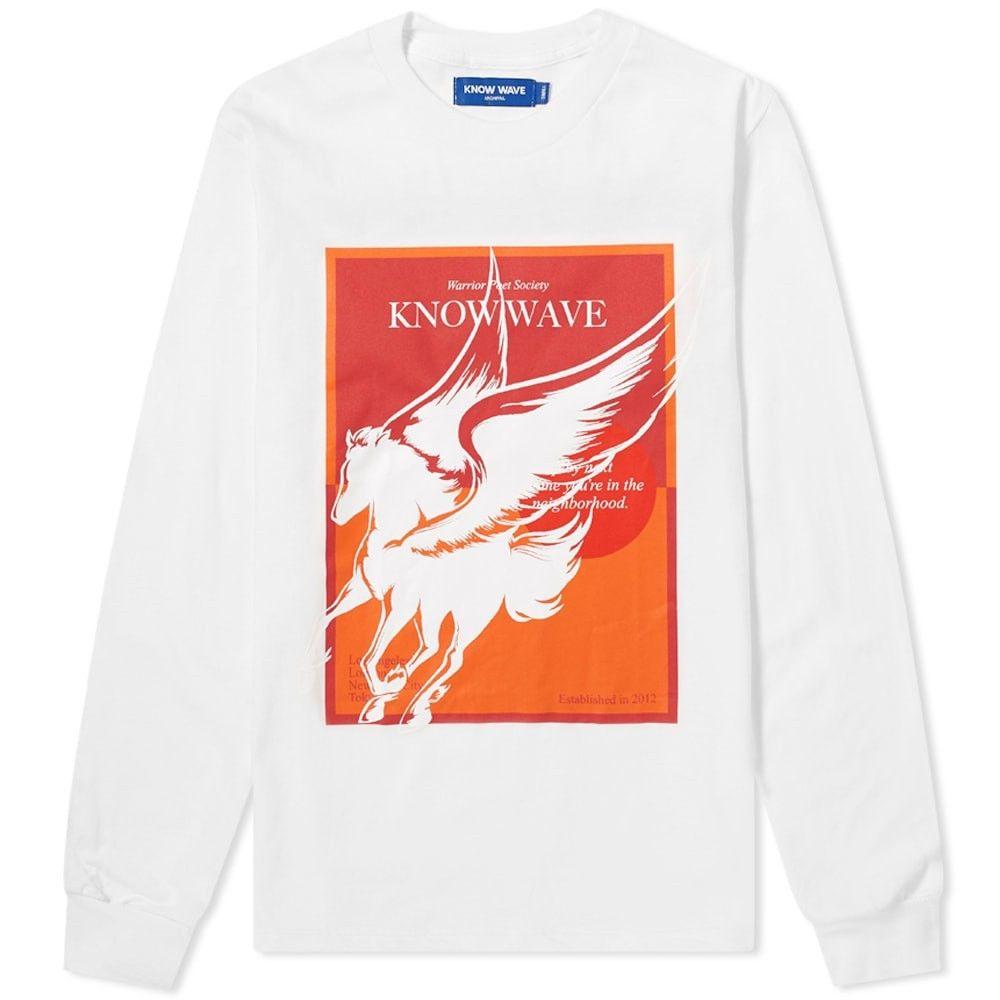 ノウ ウェイブ メンズ トップス 長袖Tシャツ White サイズ交換無料 Know Sleeve Poet Wave Long Tee Warrior 2020 新作 売却 Society