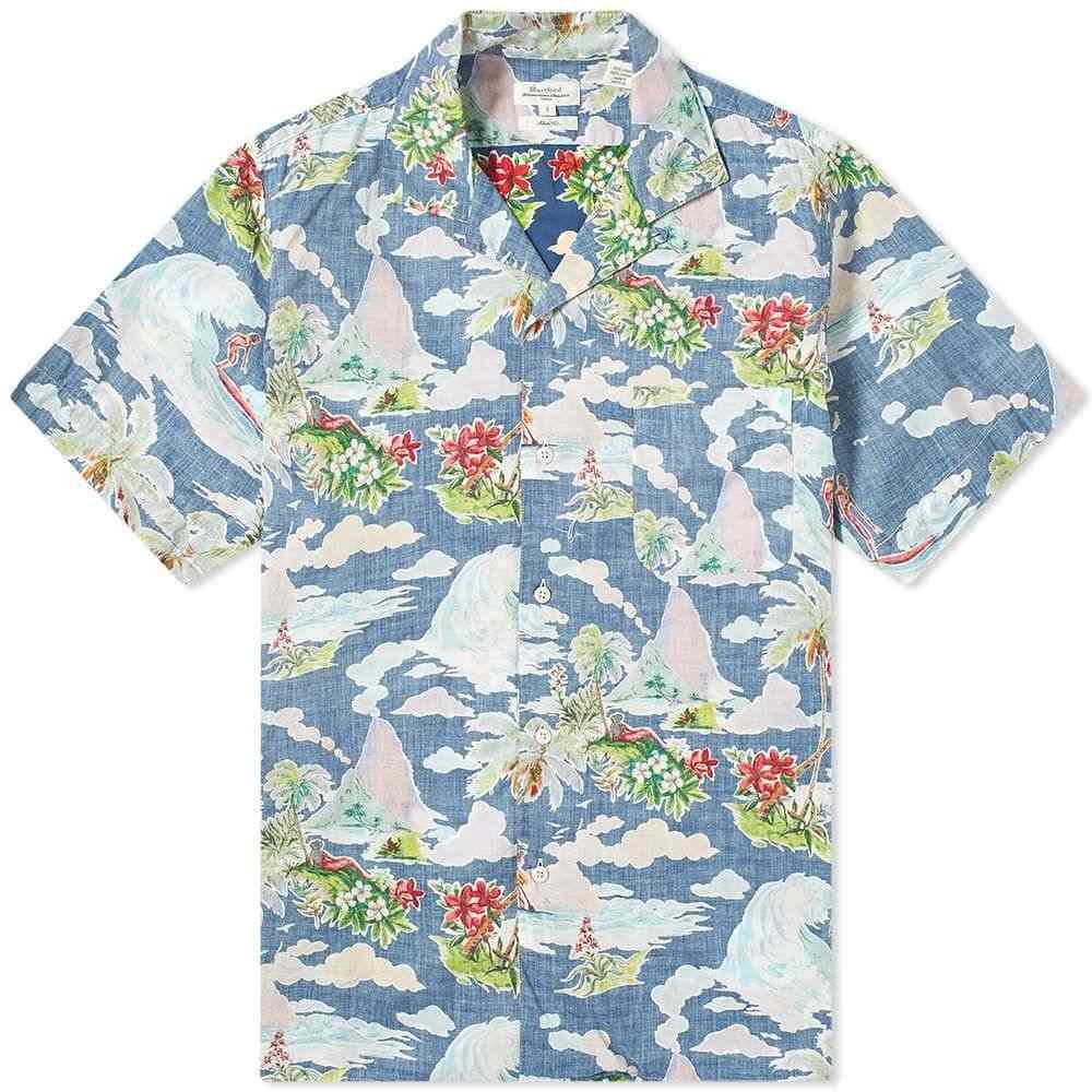 ハートフォード Hartford メンズ 半袖シャツ アロハシャツ トップス【Hawaiian Scene Vacation Shirt】Blue