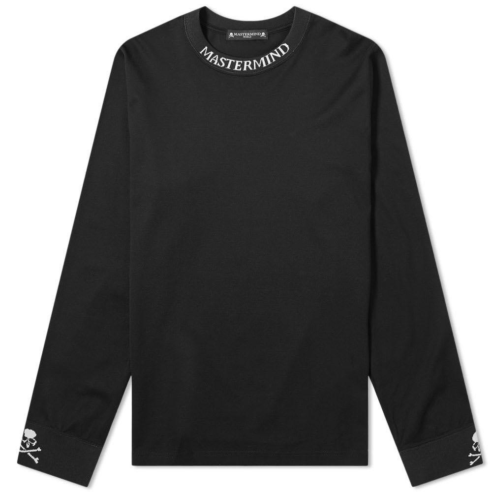 マスターマインド MASTERMIND WORLD メンズ 長袖Tシャツ ロゴTシャツ トップス【Long Sleeve Logo Collar Tee】Black