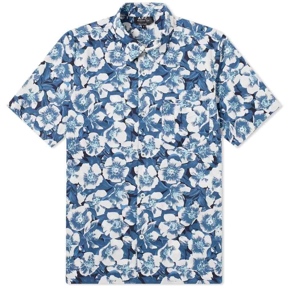 アーペーセー A.P.C. メンズ 半袖シャツ トップス【Short Sleeve Joseph Hibiscus Shirt】Blue