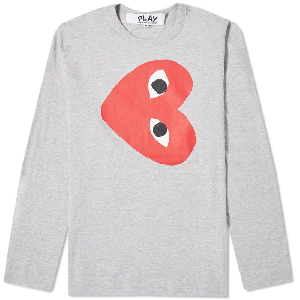 コム デ ギャルソン Comme des Garcons Play メンズ 長袖Tシャツ トップス【Long Sleeve Rotate Print Heart Tee】Grey
