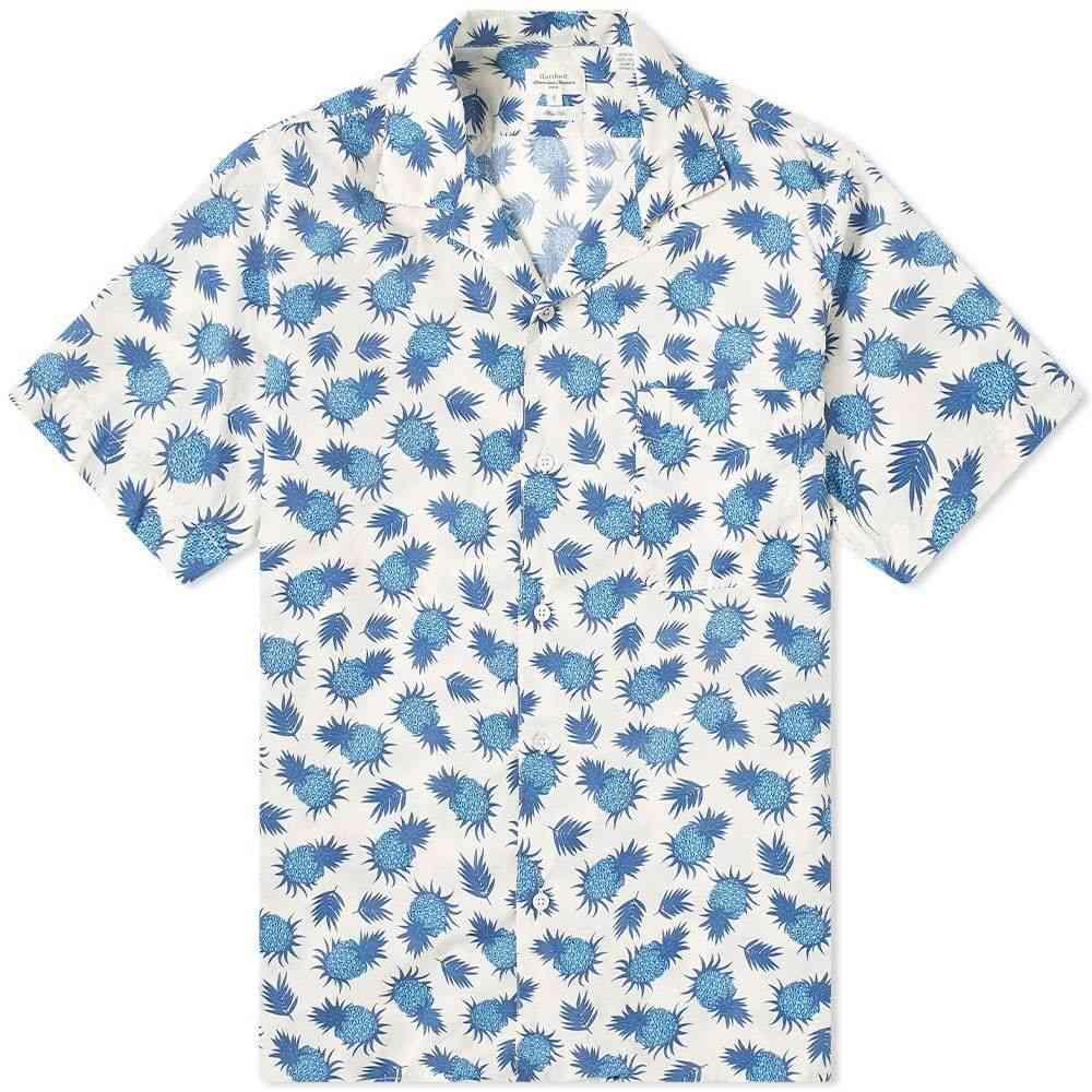 ハートフォード Hartford メンズ 半袖シャツ トップス【Pineapple Print Vacation Shirt】White/Navy