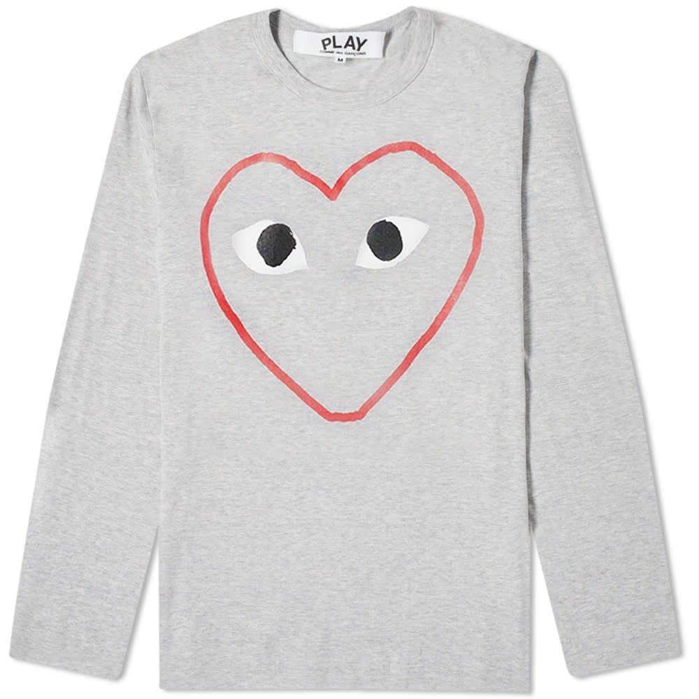 コム デ ギャルソン Comme des Garcons Play メンズ 長袖Tシャツ トップス【Long Sleeve Outline Heart Tee】Grey