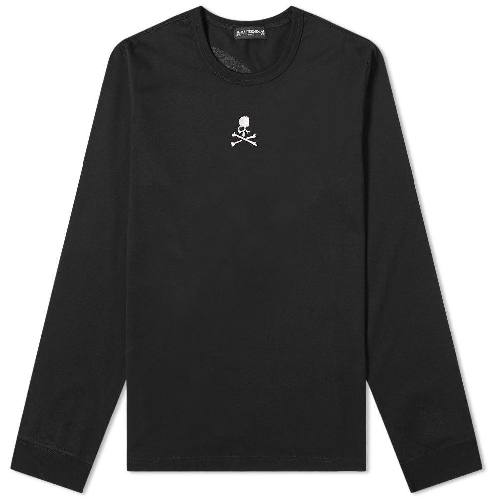 マスターマインド MASTERMIND WORLD メンズ 長袖Tシャツ トップス【Long Sleeve Embroidered Skull Tee】Black