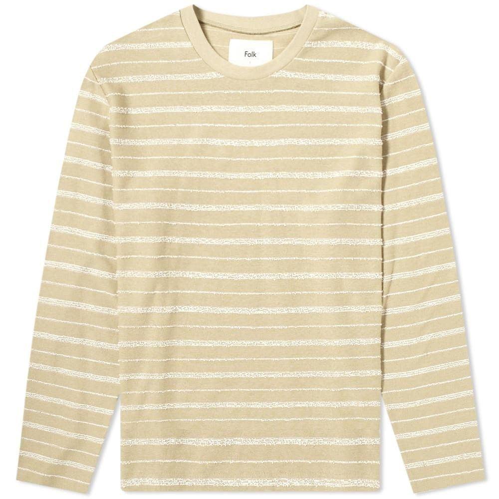 フォーク Folk メンズ 長袖Tシャツ トップス【Long Sleeve Textured Stripe Tee】Fawn Ecru