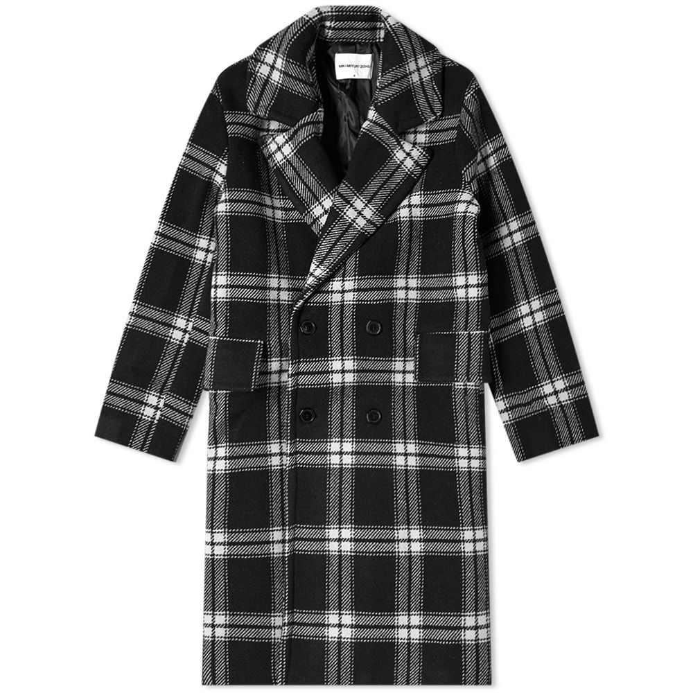 エムケーアイ MKI メンズ コート アウター【Oversized Double Breasted Overcoat】Black Check
