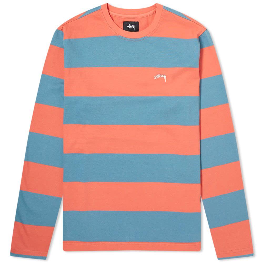 ステューシー Stussy メンズ スウェット・トレーナー トップス【Long Sleeve Bold Stripe Crew Sweat】Orange