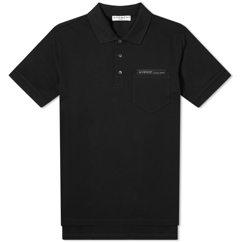 ジバンシー Givenchy メンズ ポロシャツ トップス【Tape Logo Pocket Polo】Black