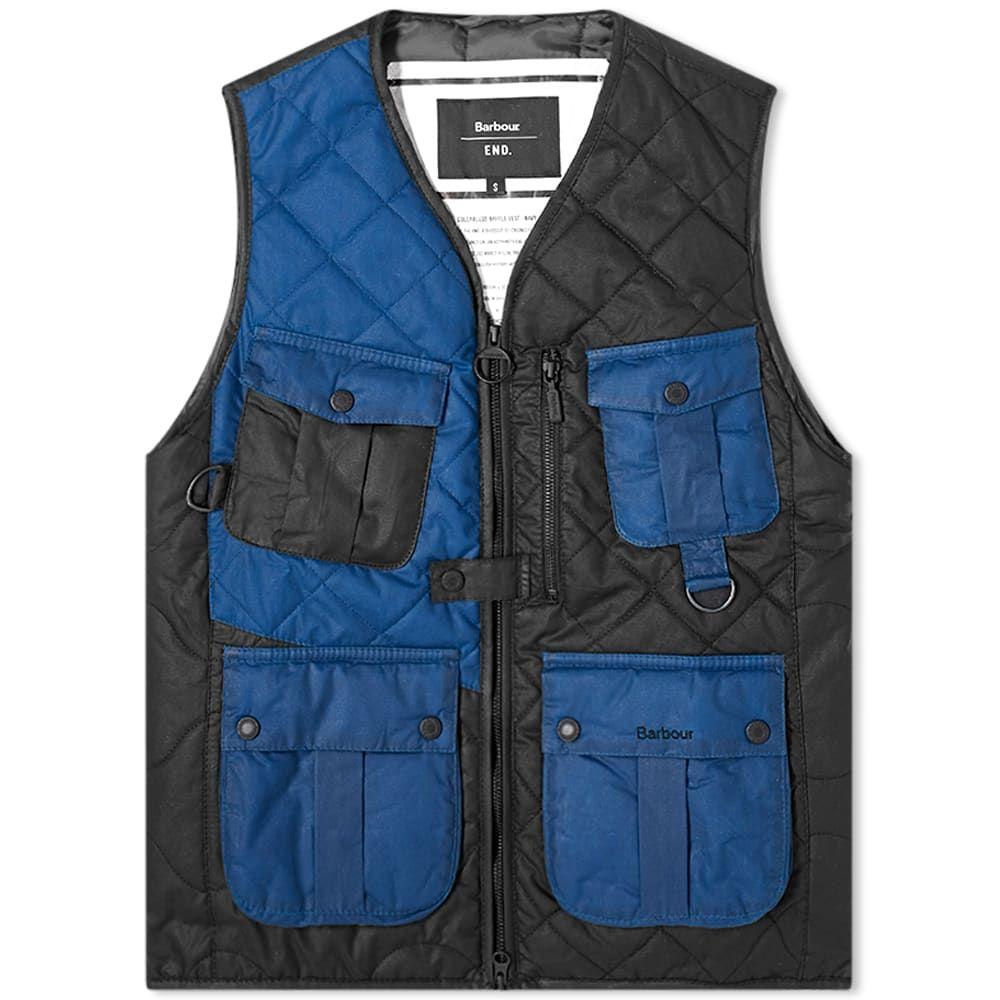 エンド END. メンズ ベスト・ジレ トップス【x Barbour Re-engineered Fishing Vest】Navy