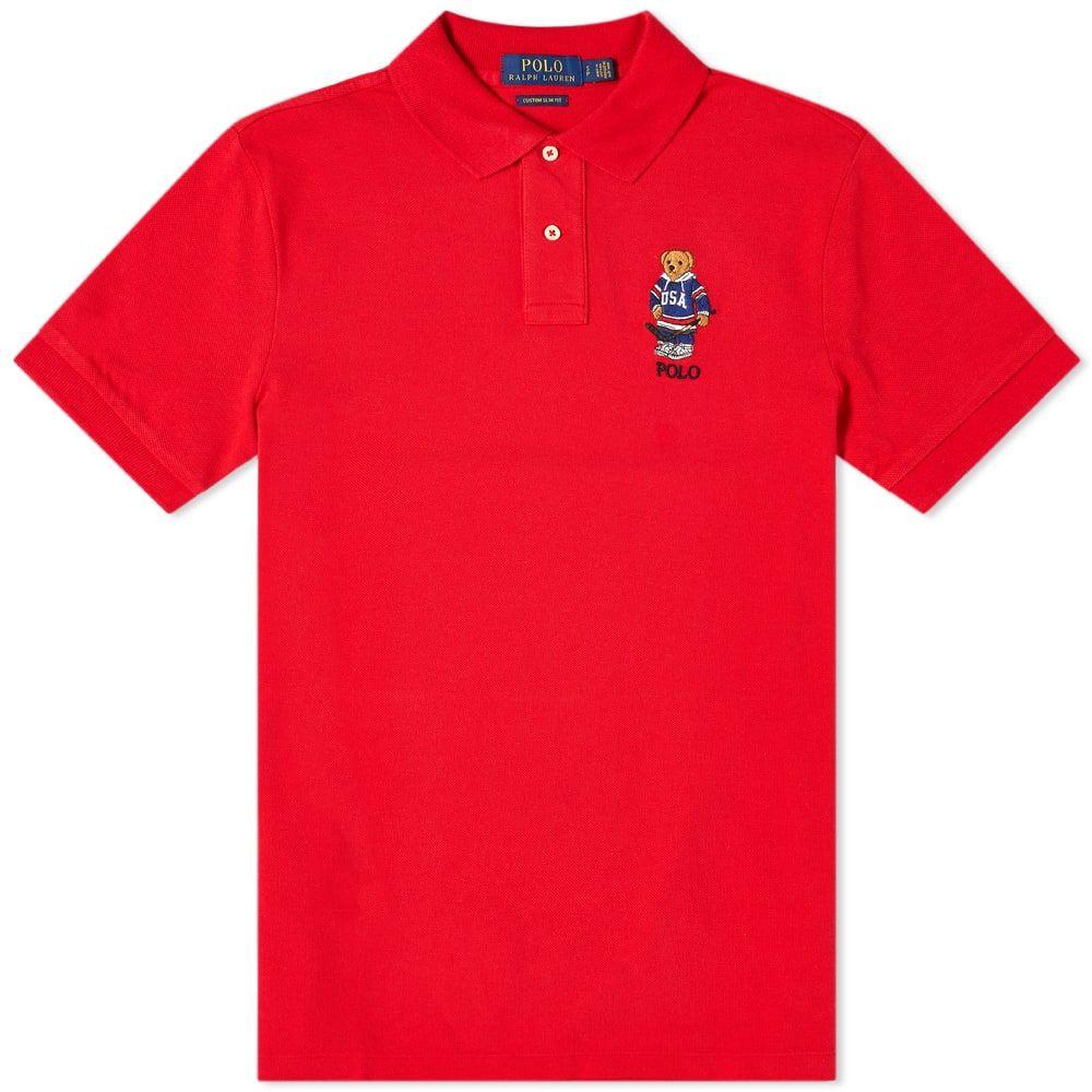 ラルフ ローレン Polo Ralph Lauren メンズ ポロシャツ トップス【Hockey Bear Polo】Red USA Bear