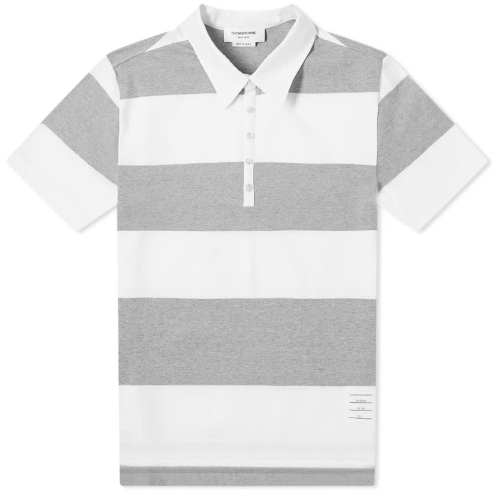トム ブラウン Thom Browne メンズ ポロシャツ 半袖 トップス【Rugby Stripe Short Sleeve Polo】Grey