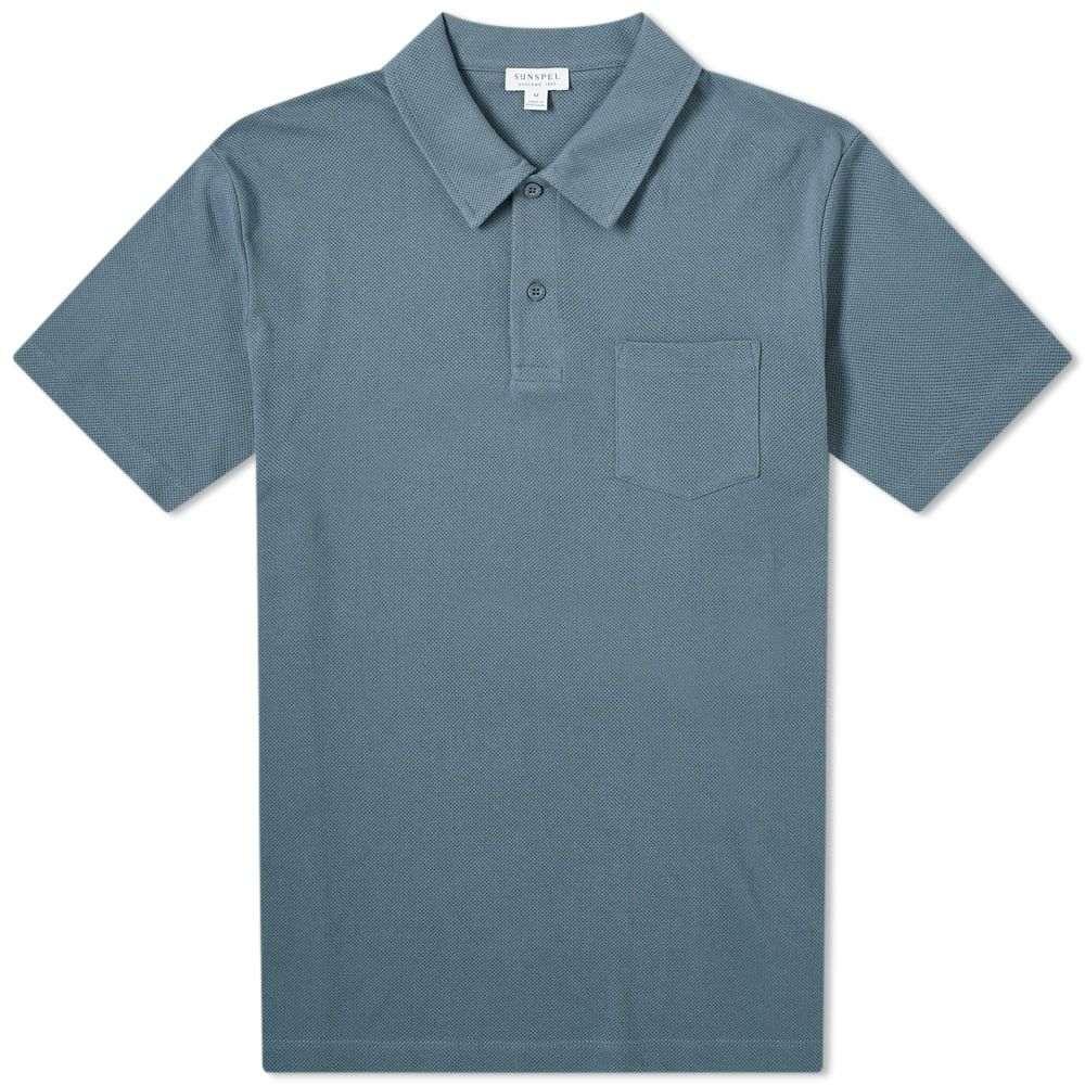 サンスペル Sunspel メンズ ポロシャツ トップス【Riviera Polo】Blue Slate