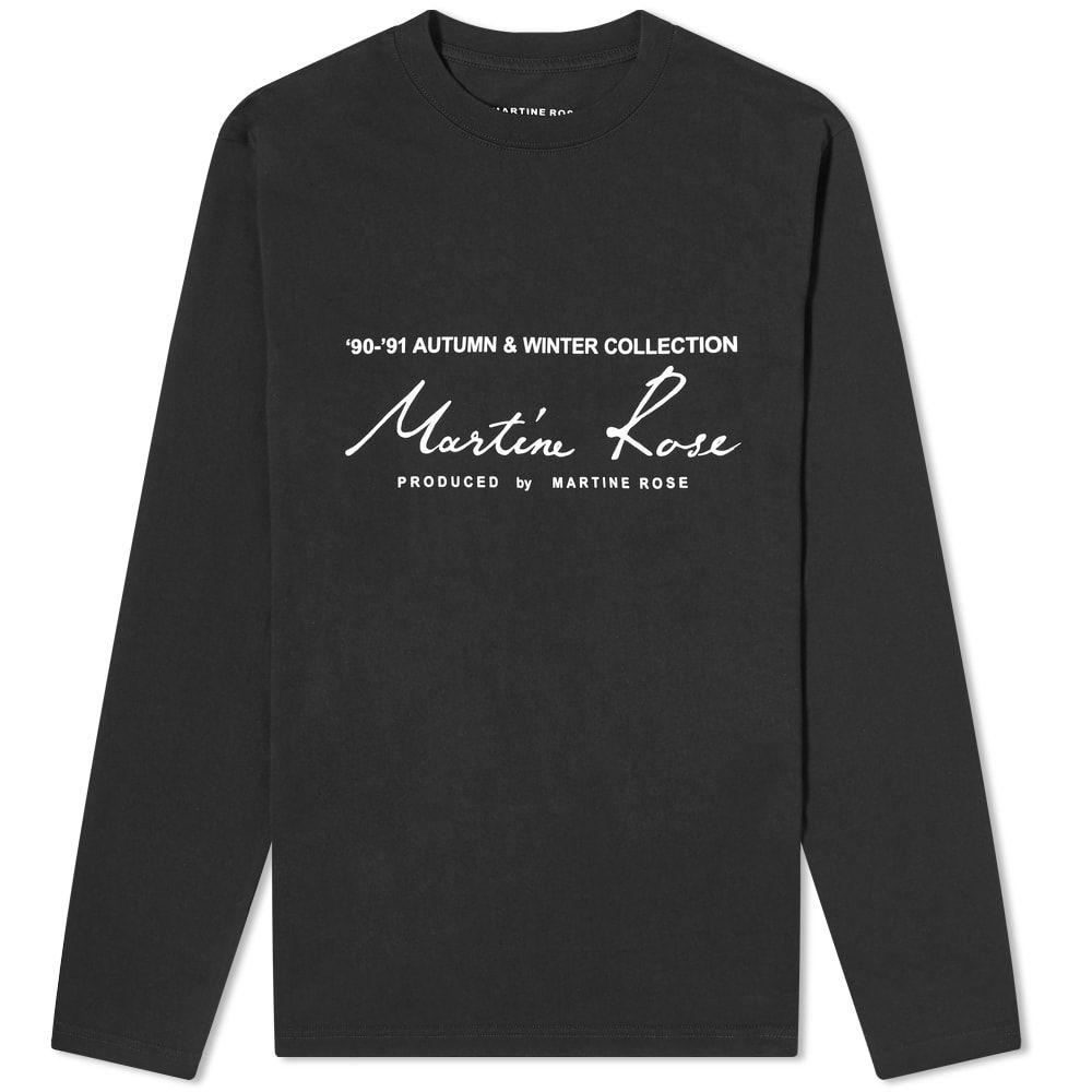 マーティン ローズ Martine Rose メンズ 長袖Tシャツ ロゴTシャツ トップス【Long Sleeve Logo Print Tee】Black