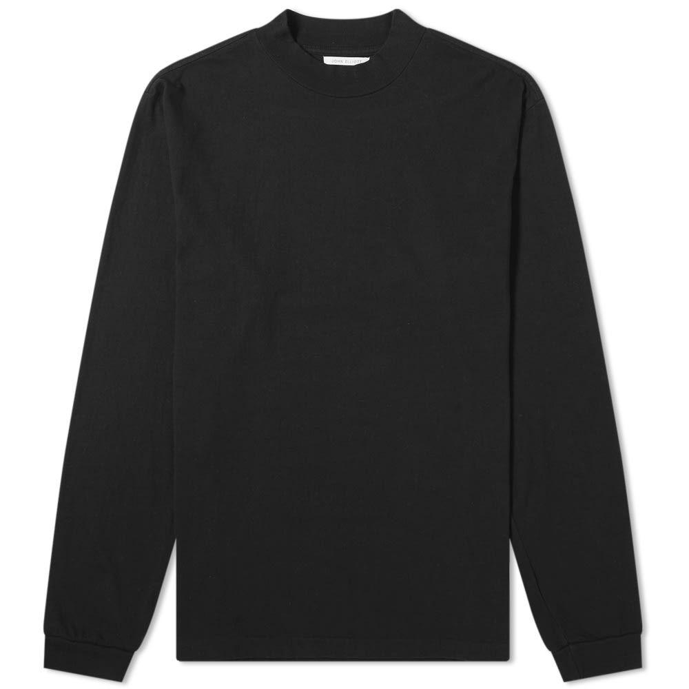 ジョン エリオット John Elliott メンズ 長袖Tシャツ トップス【Long Sleeve Mock Neck Tee】Black