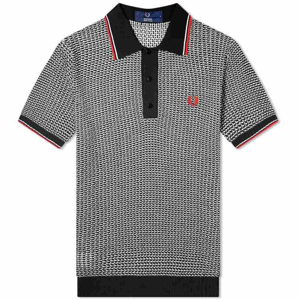 フレッドペリー Fred Perry Laurel Wreath メンズ ポロシャツ トップス【Fred Perry Reissues Jacquard Knitted Polo】Black/White/Red