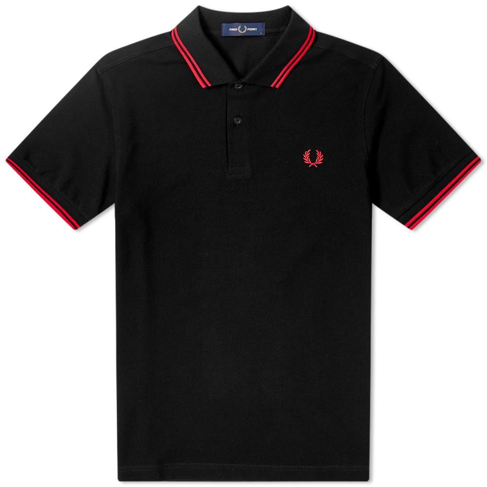 フレッドペリー Fred Perry Authentic メンズ ポロシャツ トップス【Slim Fit Twin Tipped Polo】Black/Red
