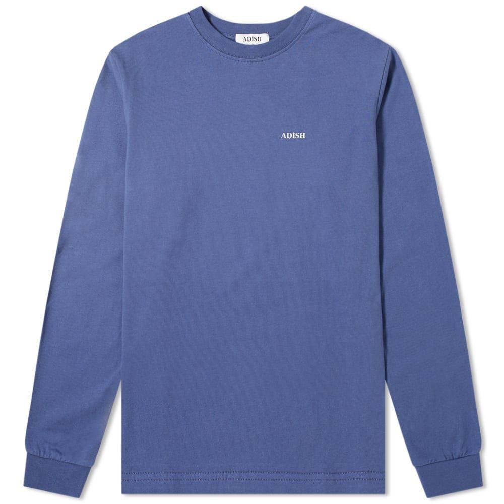 ADISH メンズ 長袖Tシャツ トップス【Long Sleeve Embroidered Sawsana Tee】Blue
