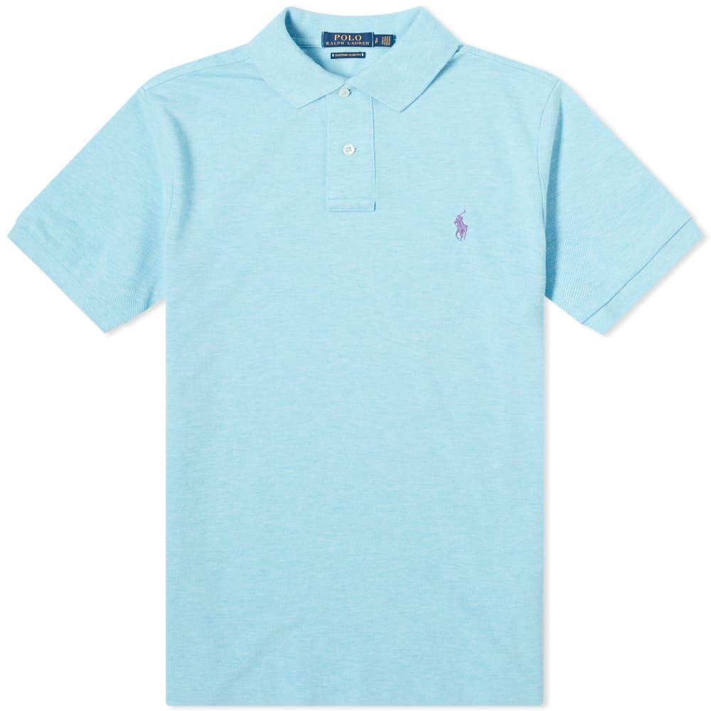 ラルフ ローレン Polo Ralph Lauren メンズ ポロシャツ トップス【Custom Slim Fit Polo】Watchill Blue Heather