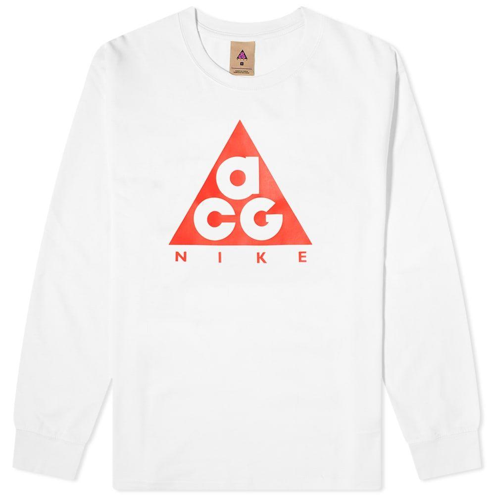 ナイキ メンズ トップス 長袖Tシャツ White Red サイズ交換無料 Sleeve 大放出セール Long Tee 新品 ACG ロゴTシャツ Logo Nike
