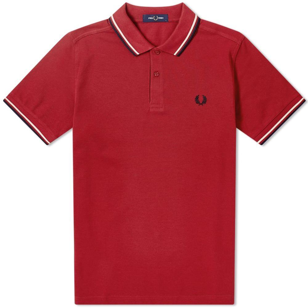フレッドペリー Fred Perry Authentic メンズ ポロシャツ トップス【Slim Fit Twin Tipped Polo】Rich Red