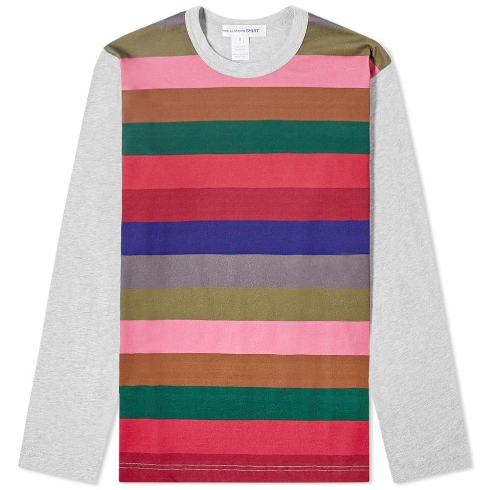 コム デ ギャルソン Comme des Garcons SHIRT メンズ 長袖Tシャツ トップス【Long Sleeve Block Stripe Tee】Grey Mix 3