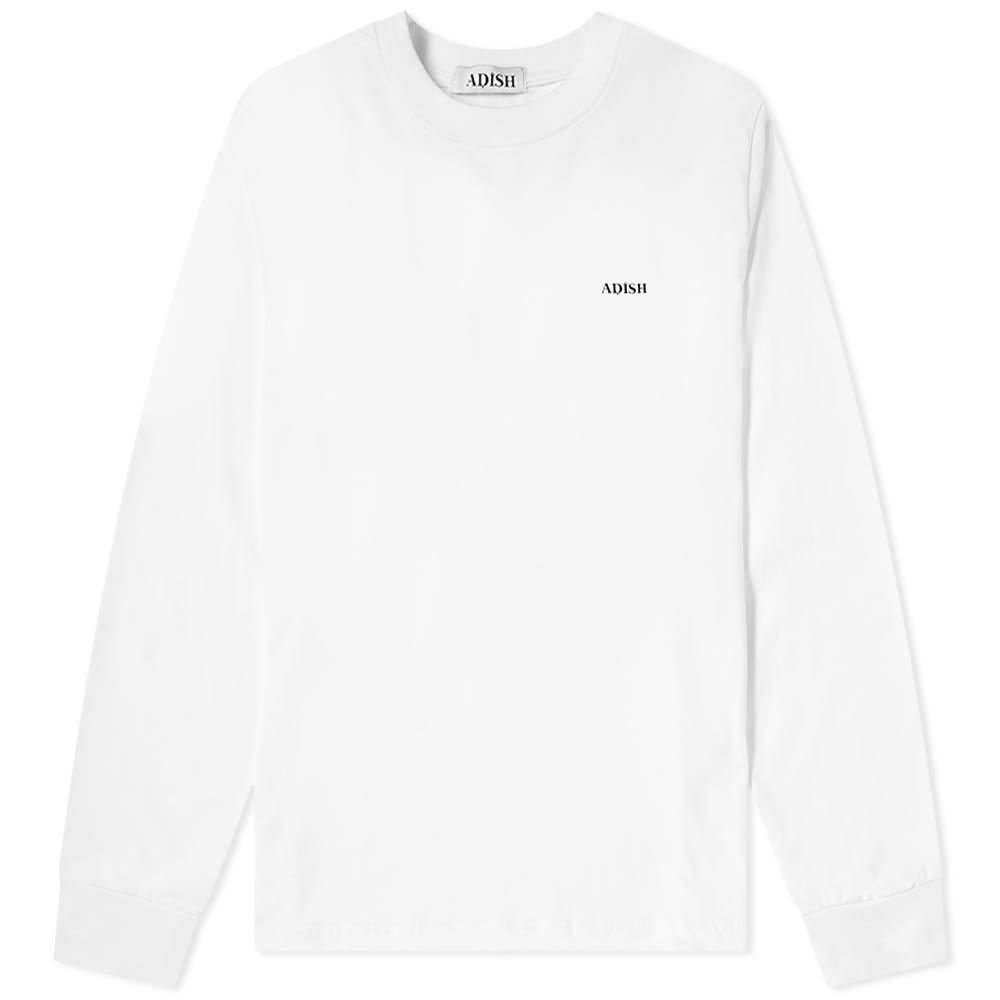 ADISH メンズ 長袖Tシャツ トップス【Long Sleeve Embroidered Sawsana Tee】White
