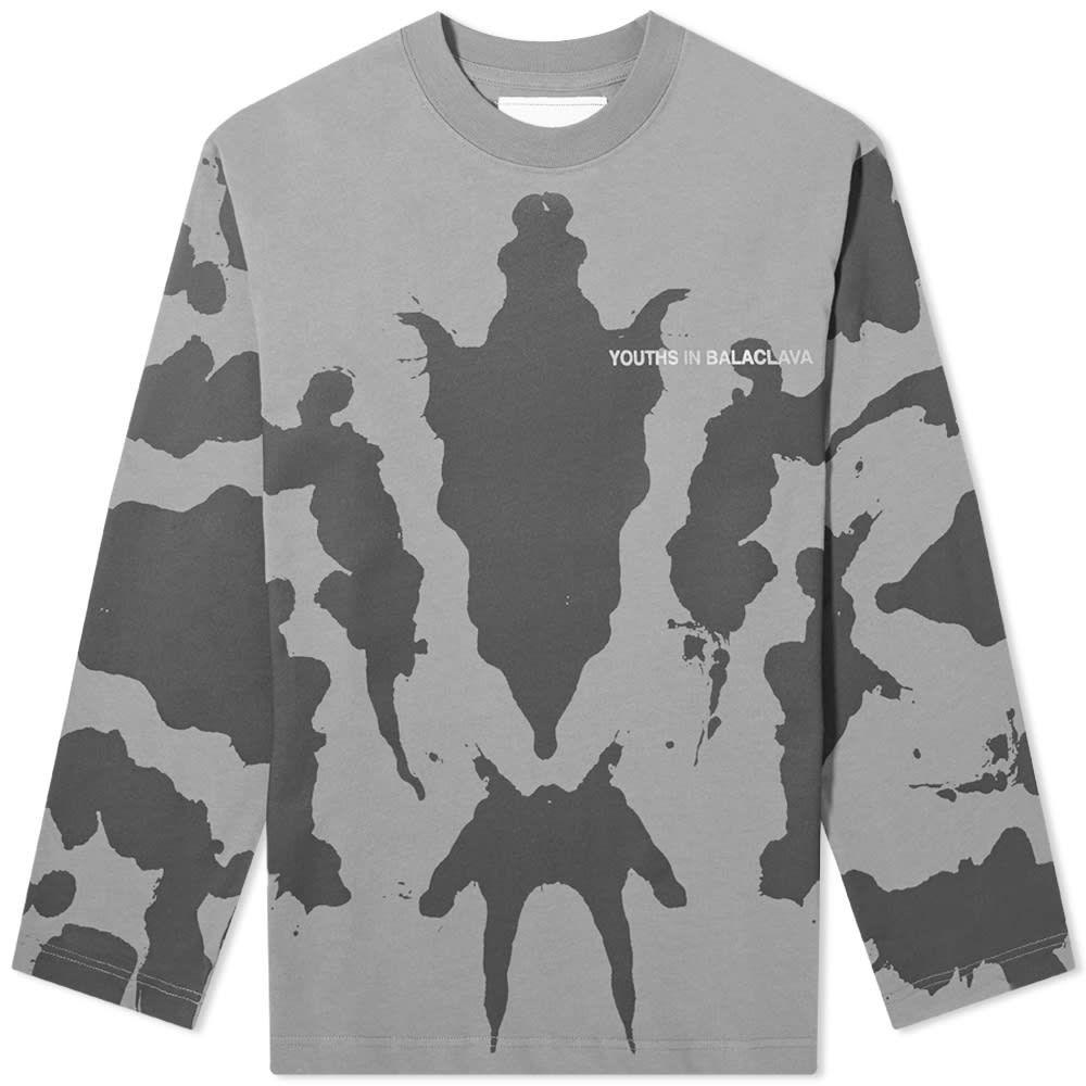 ユース イン バラクラバ Youths in Balaclava メンズ 長袖Tシャツ トップス【Ink Blot Tee】Grey
