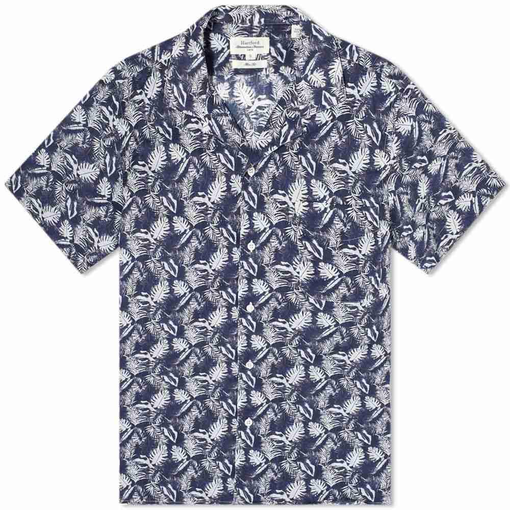 ハートフォード Hartford メンズ 半袖シャツ トップス【Palm Print Vacation Shirt】Blue