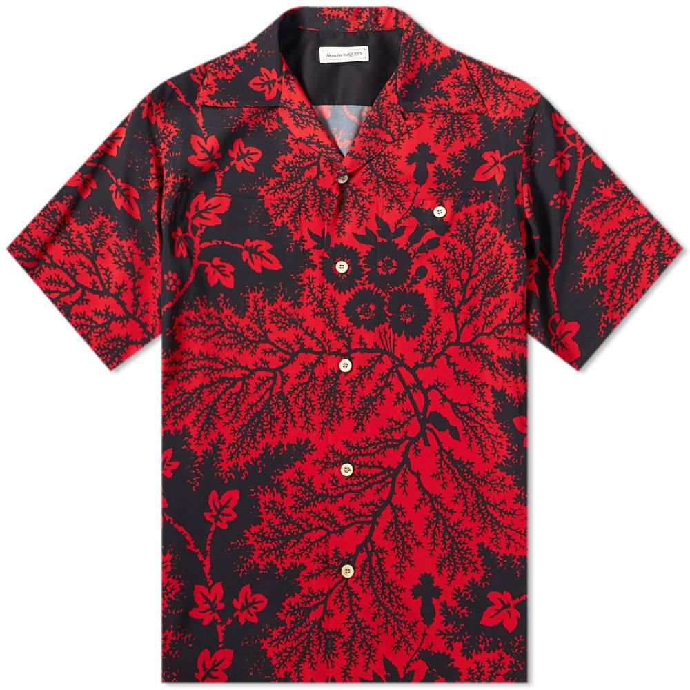アレキサンダー マックイーン Alexander McQueen メンズ 半袖シャツ トップス【Ivory Print Vacation Shirt】Black/Red