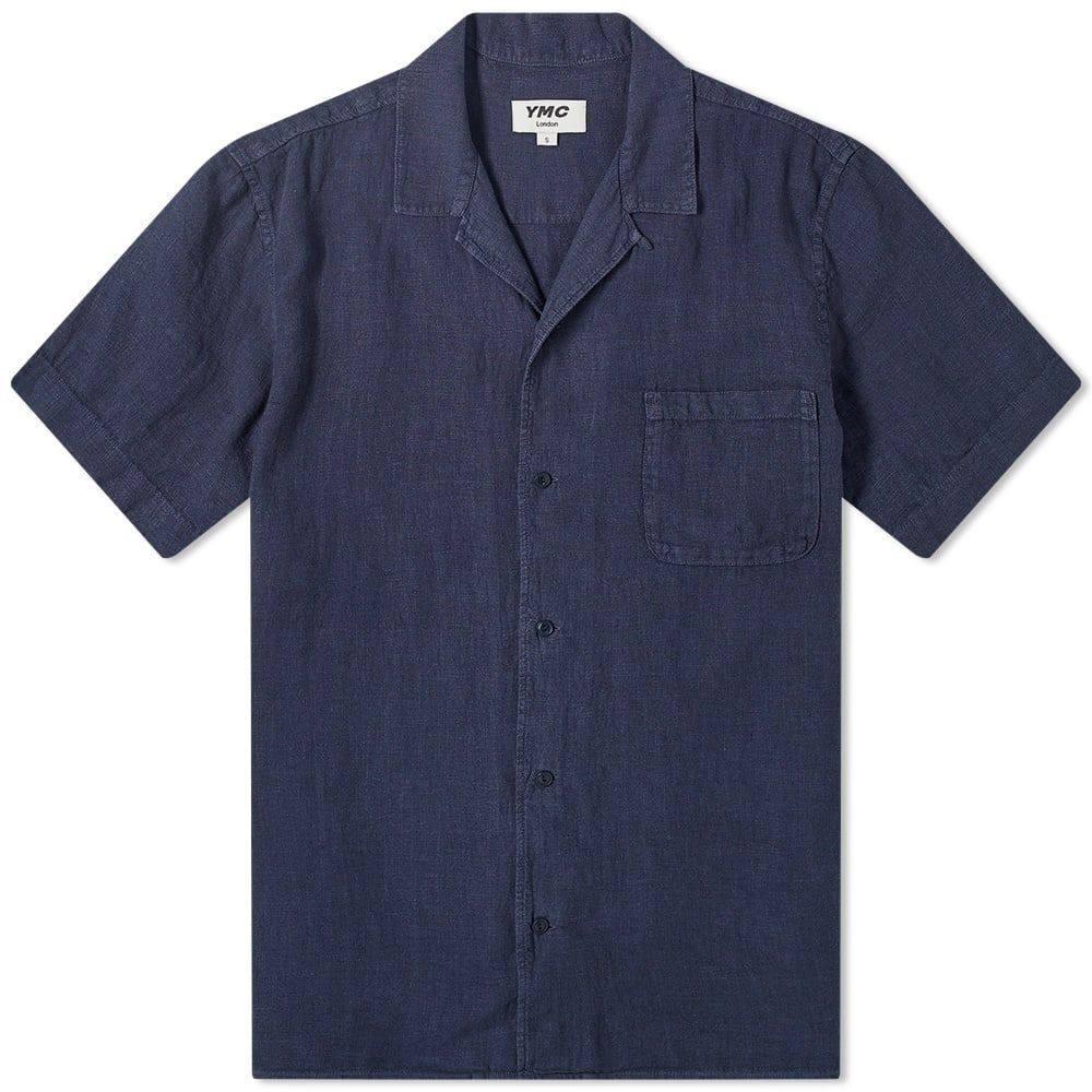 ワイエムシー YMC メンズ 半袖シャツ トップス【Malick Linen Vacation Shirt】Navy