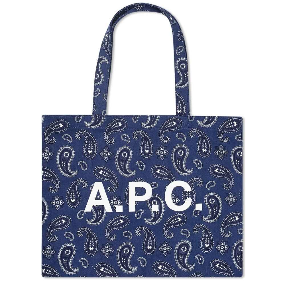 アーペーセー A.P.C. メンズ トートバッグ バッグ【Diane Paisley Print Logo Shopper】Navy