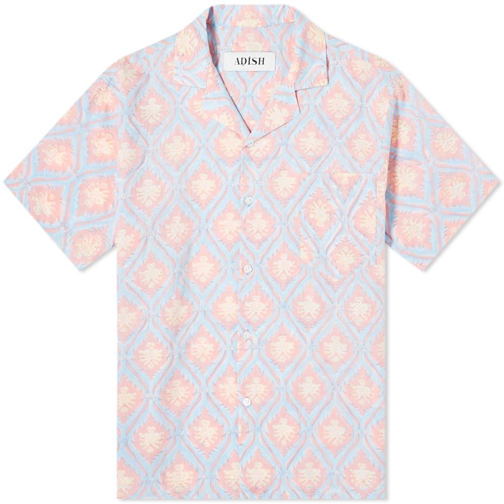 ADISH メンズ 半袖シャツ トップス【Sawsana Vacation Shirt】Blue/Pink