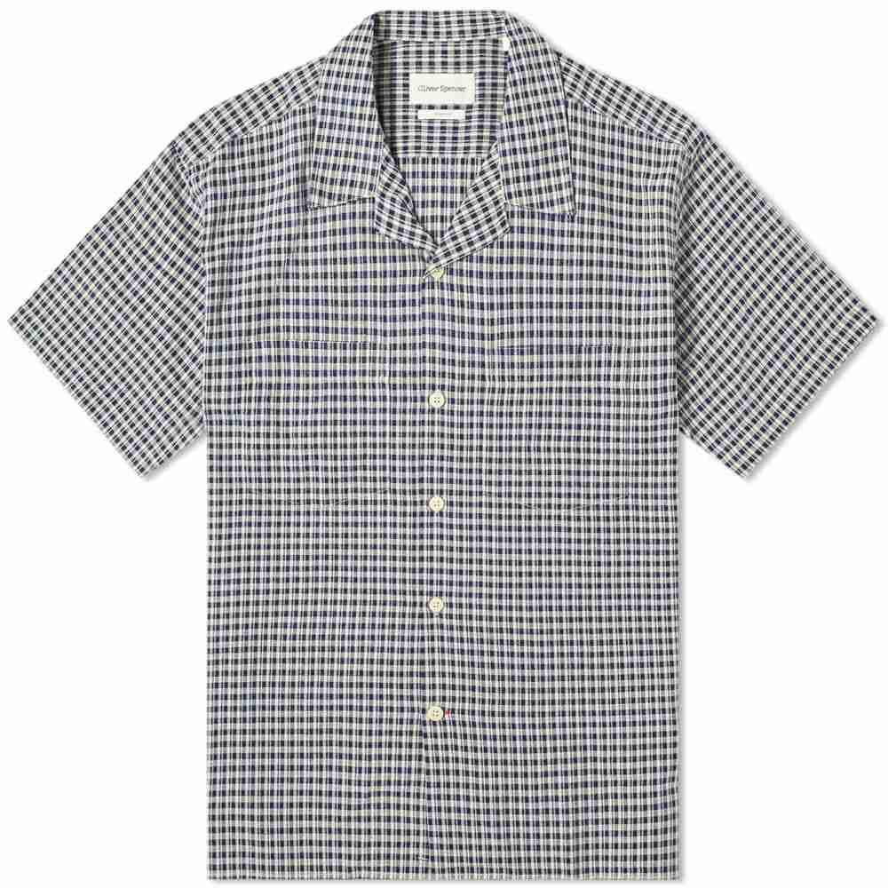オリバー スペンサー Oliver Spencer メンズ 半袖シャツ トップス【Havana Shirt】Blue