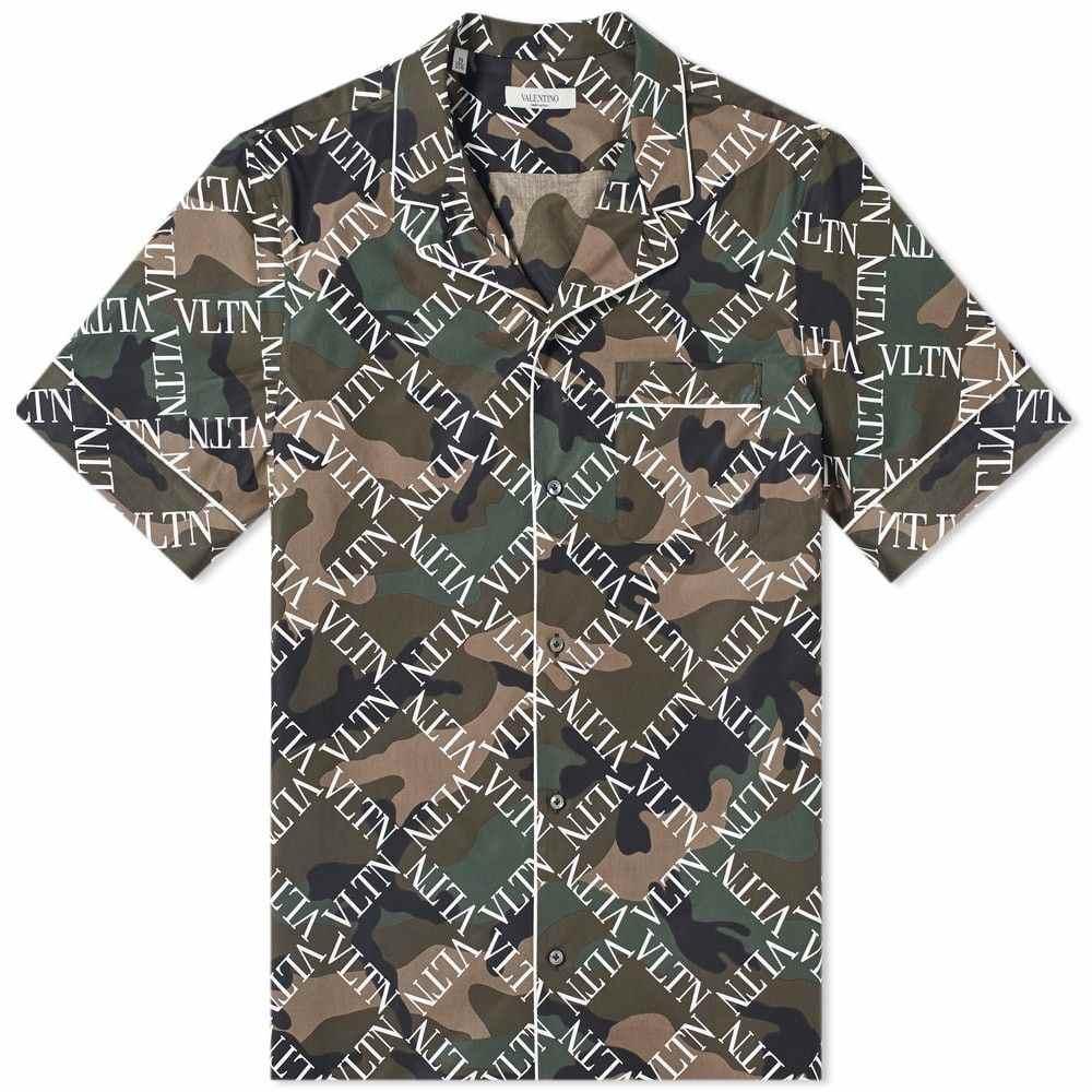 ヴァレンティノ Valentino メンズ 半袖シャツ トップス【Grid Allover Print Vacation Shirt】Camo/White