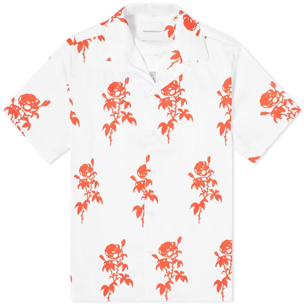 ナサシーズンズ NASASEASONS メンズ 半袖シャツ トップス【Rose Print Vacation Shirt】White/Red