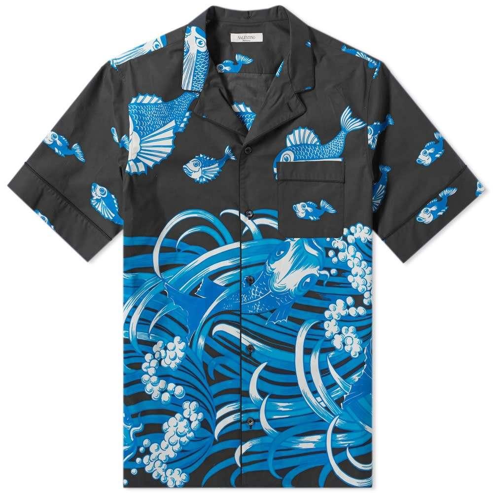 ヴァレンティノ Valentino メンズ 半袖シャツ トップス【Fishrain Print Vacation Shirt】Blue/Black