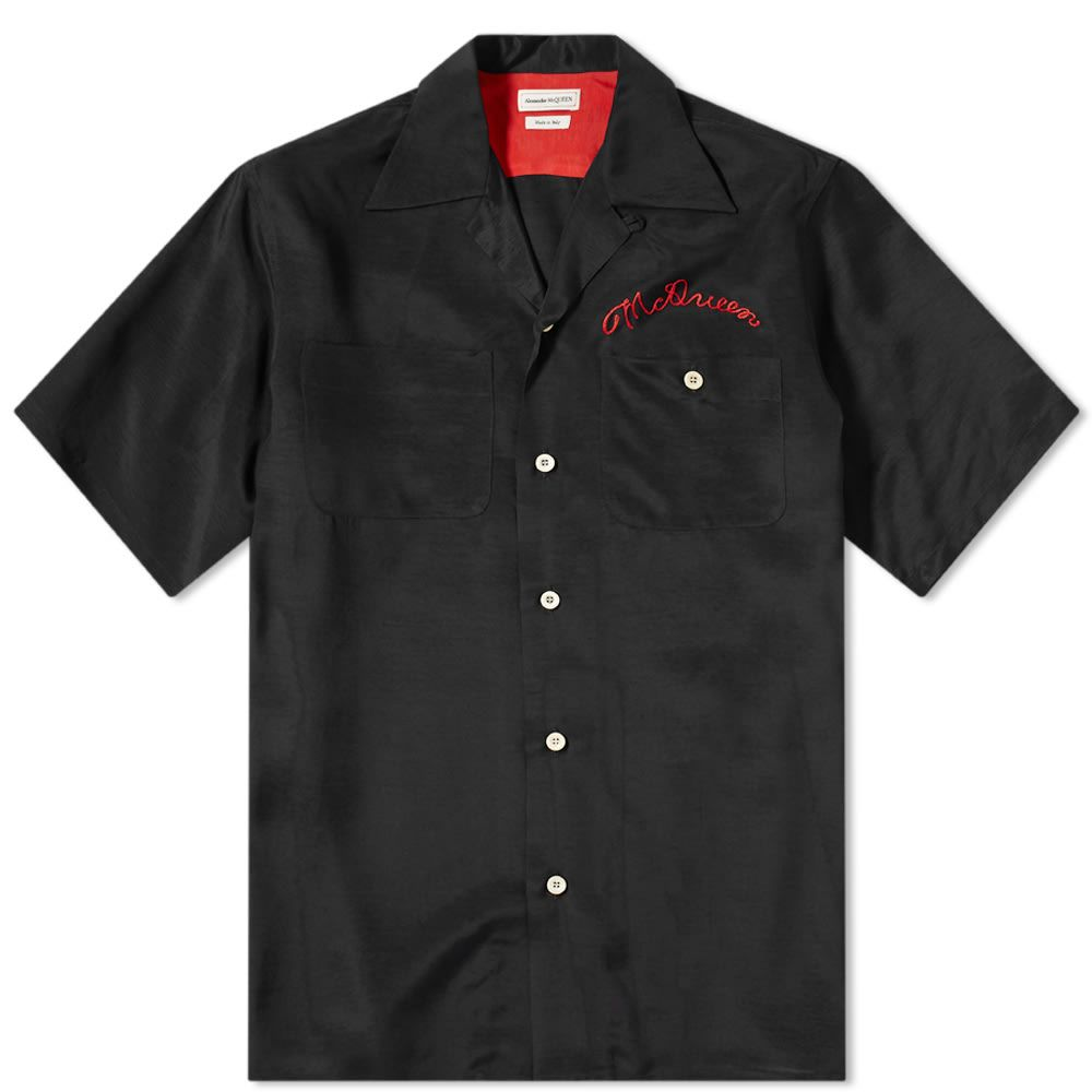 アレキサンダー マックイーン Alexander McQueen メンズ 半袖シャツ トップス【Chain Stitch Logo Vacation Shirt】Black
