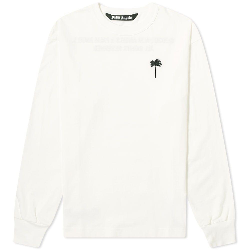パーム エンジェルス Palm Angels メンズ 長袖Tシャツ ロゴTシャツ トップス【Palm by Long Sleeve Palm Logo Tee】White/Black