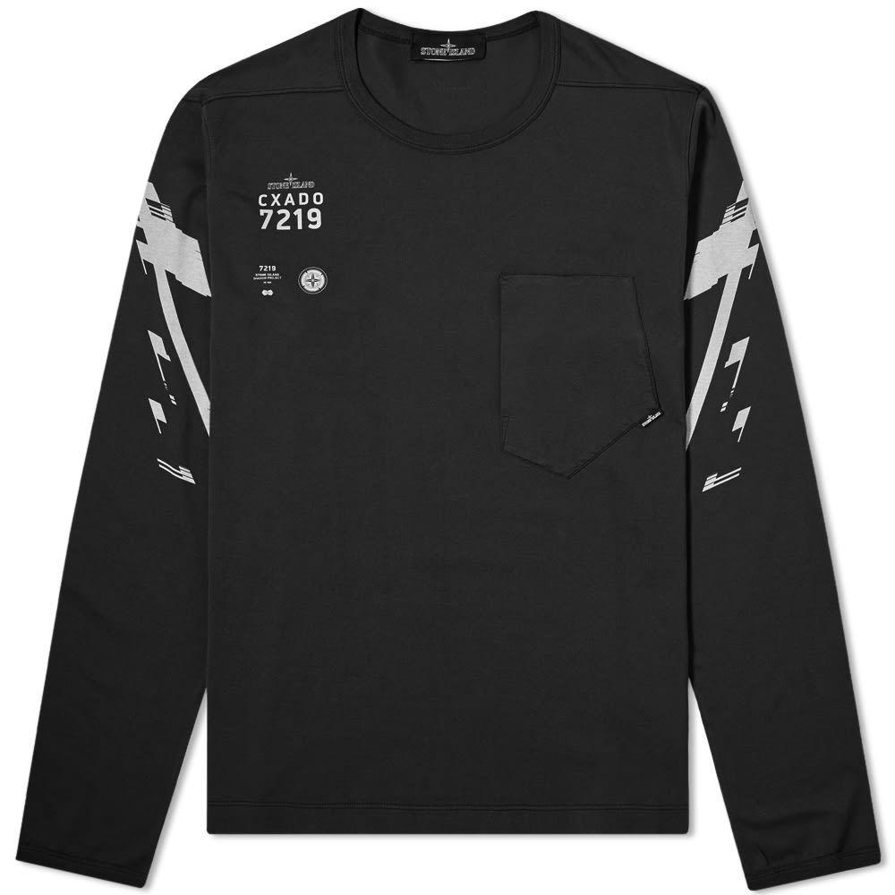 ストーンアイランド Stone Island Shadow Project メンズ 長袖Tシャツ ロゴTシャツ トップス【Mako Jersey Long Sleeve Logo Tee】Black