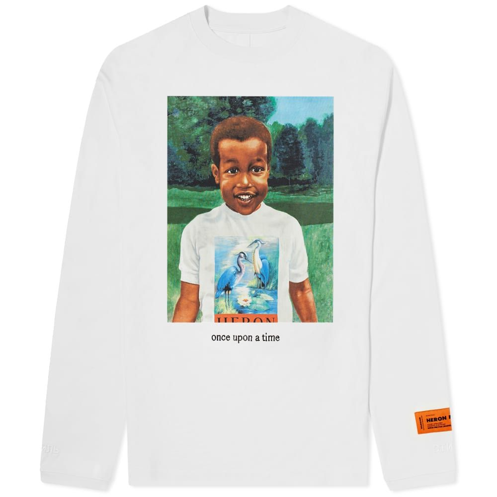 ヘロン プレストン Heron Preston メンズ 長袖Tシャツ チビT トップス【Long Sleeve Baby Print Tee】White
