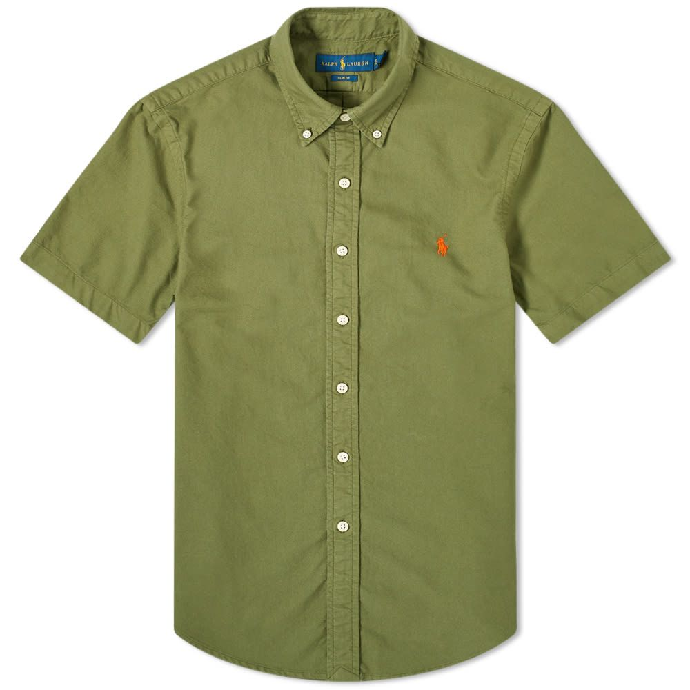 ラルフ ローレン Polo Ralph Lauren メンズ 半袖シャツ トップス【Garment Dyed Button Down Short Sleeve Oxford Shirt】Green